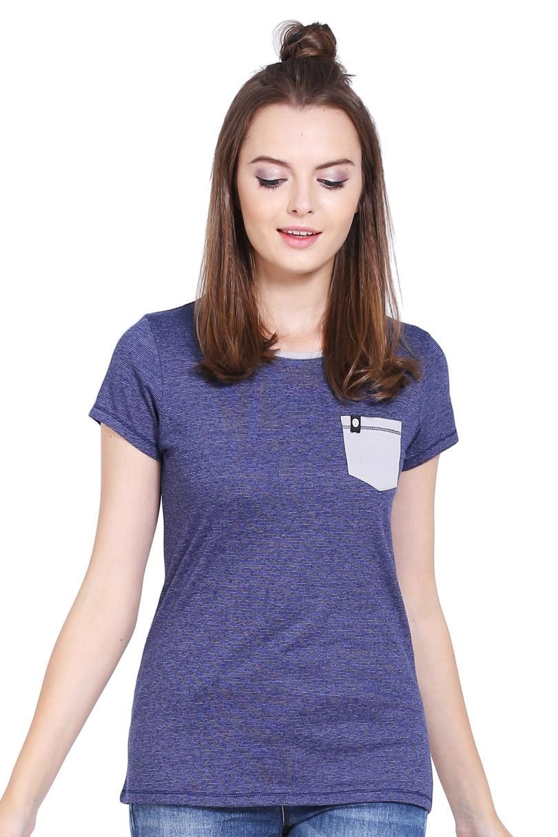 Greenlight Fashion Pakaian T-Shirt Wanita Ladies Tshirt Blue