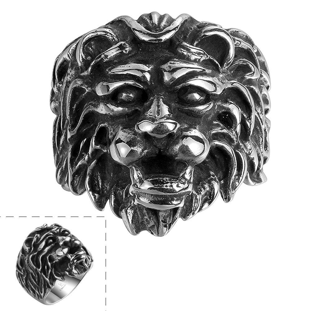 Jual panas Vintage Retro singa kepala baja titanium mens cincin R102-8 GMT R102