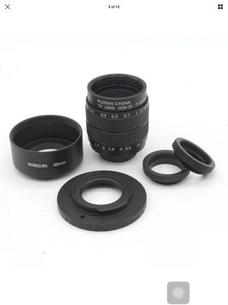 Lensa Kamera Fujian 35mm/Mount CCTV Lens + C Adapter