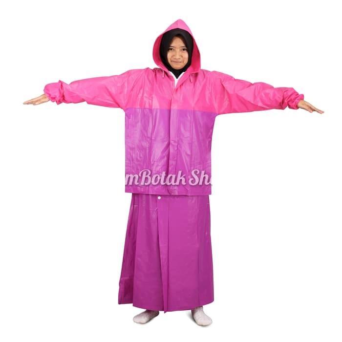 Zens Jas Hujan Rok Valencia / Setelan Jas Hujan Perempuan Wanita Muslimah - Pink Ungu