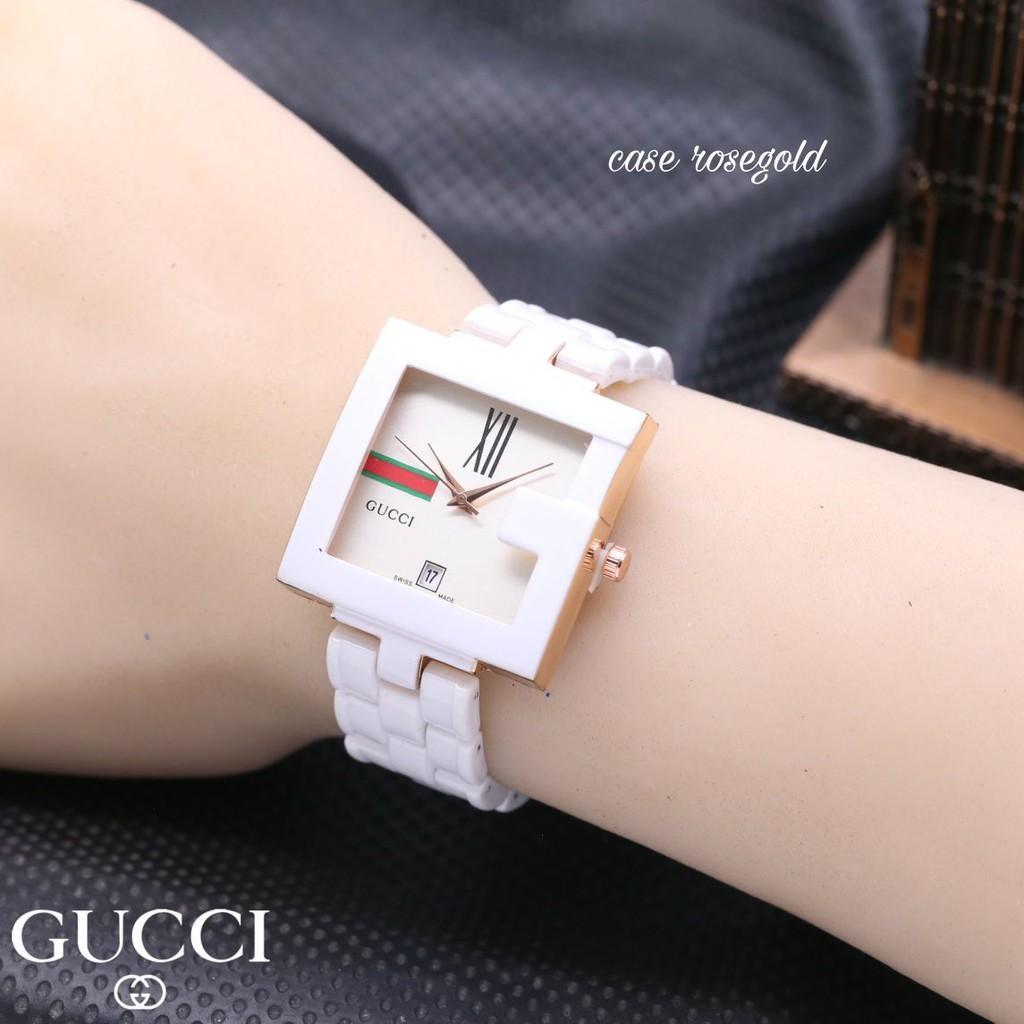 Gucci Fashion Wanita GShape Mika Mini   Model Ceramic Jam Tangan Elegant Cantik Kecil