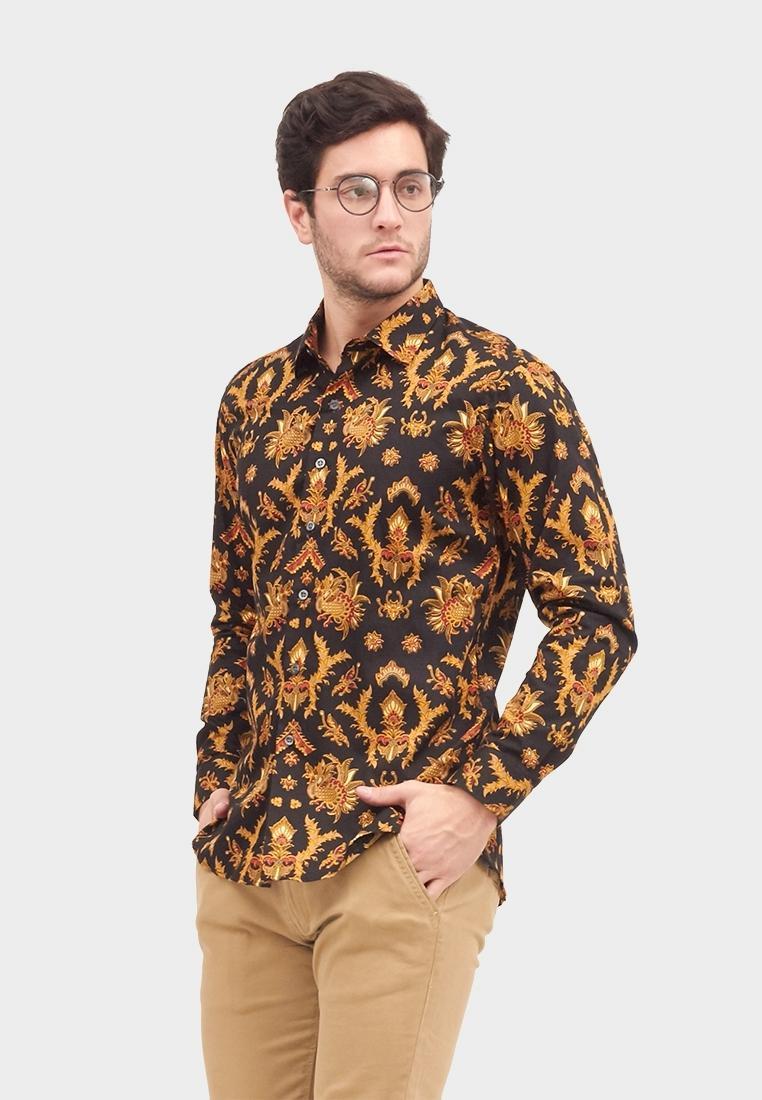 Baju Kemeja Batik Slimfit Kediri Lengan Panjang Pria Hitam