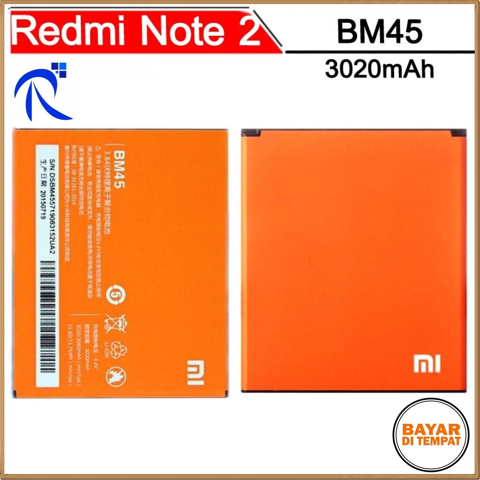 Baterai Xiaomi Redmi Note 2 3020mAh - BM45 (OEM) - Oranye / Orange - Anda dapat menggunakan batre i