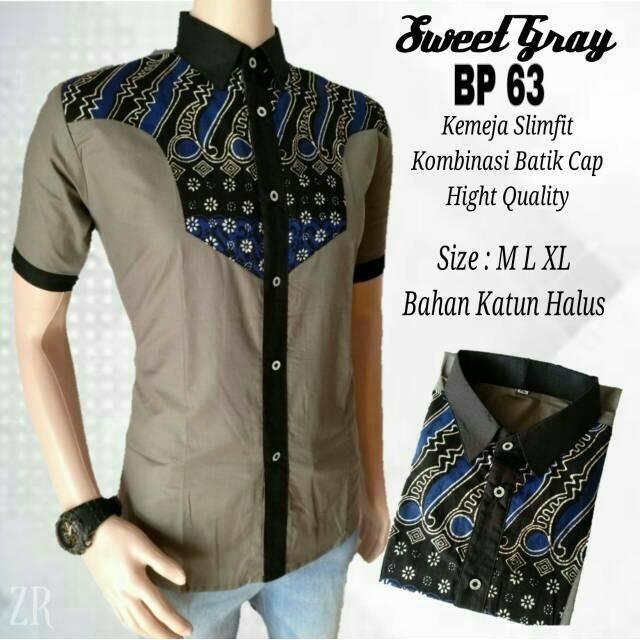... Kemeja Batik Slimfit Pria Lsg1077 Grey Kombinasi Muslim Koko Jeans Source Muslim Koko Jeans Lazada Indonesia