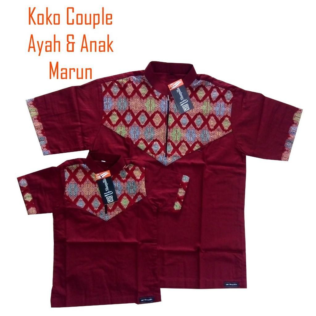 Koko Couple ayah anak koko dewasa dan koko anak baju couple shaquilla 035 (Dewasa Marun 035 M)