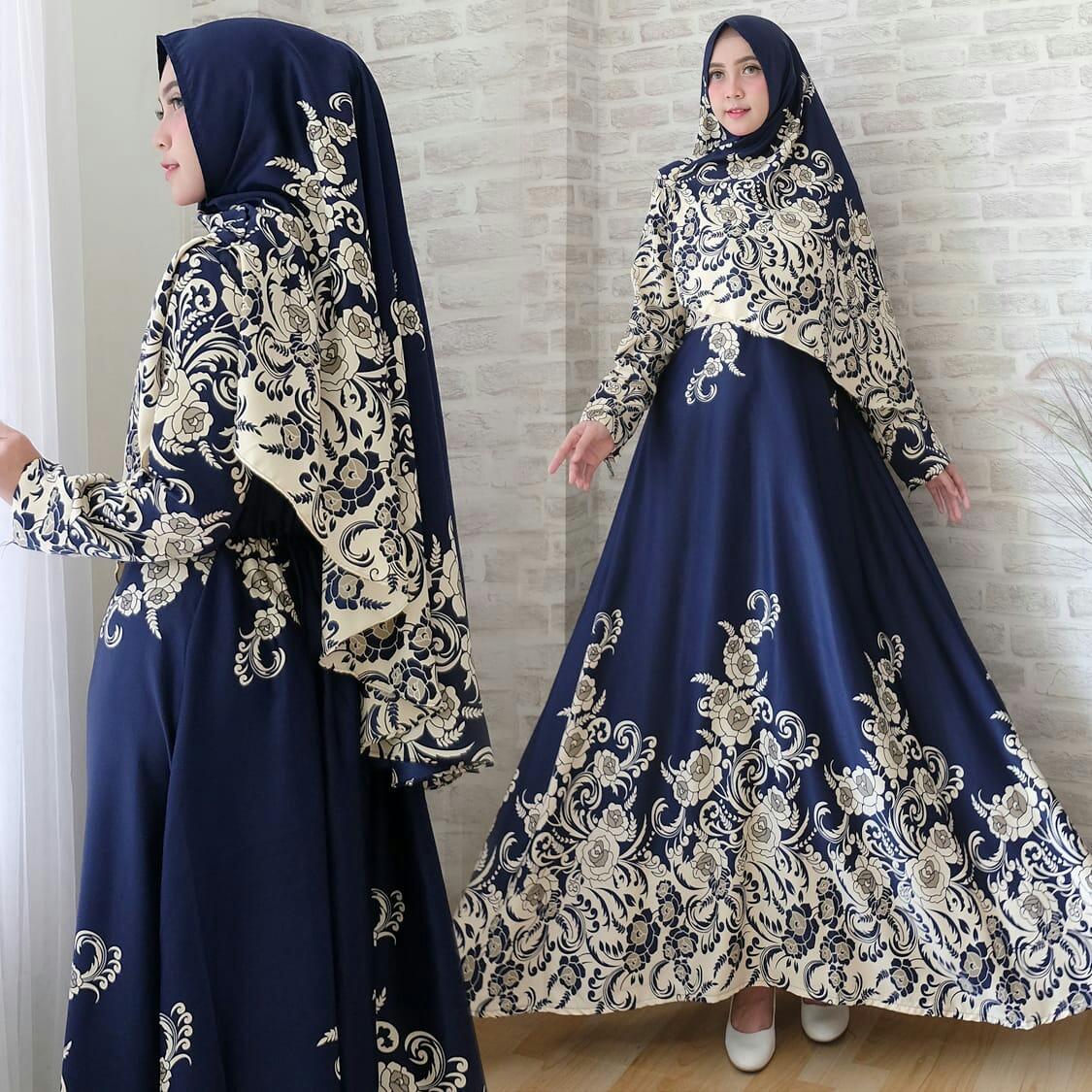 Gamis Modern Brand Syari Baju Muslim Gina Shofiya Umbrella Navy Real Pict