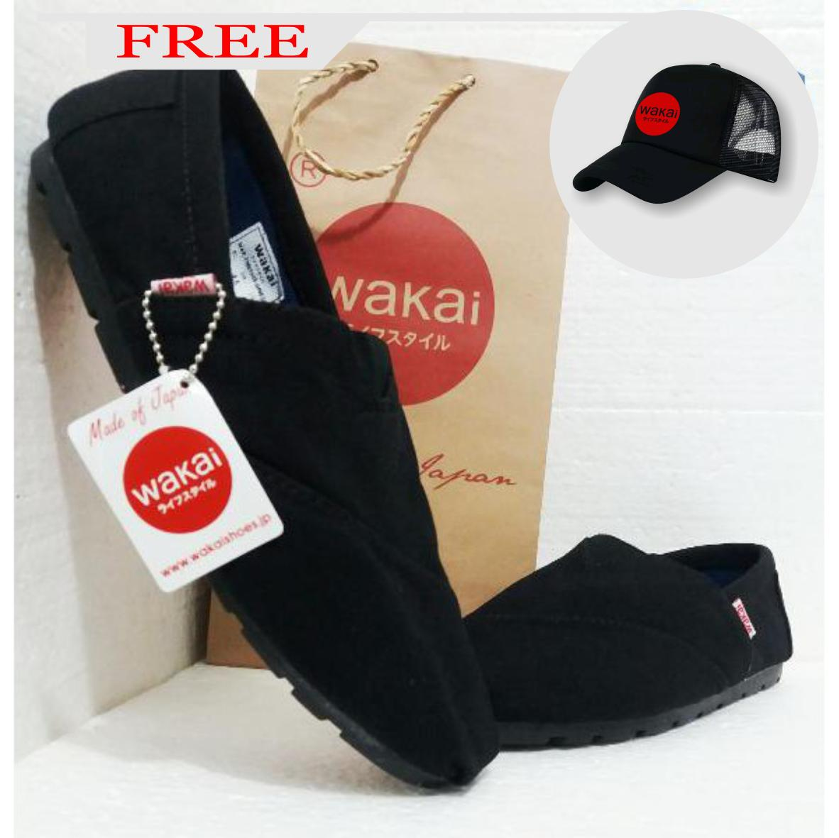 Sepatu Wakai Slip On / Pria & Wanita / Full Black