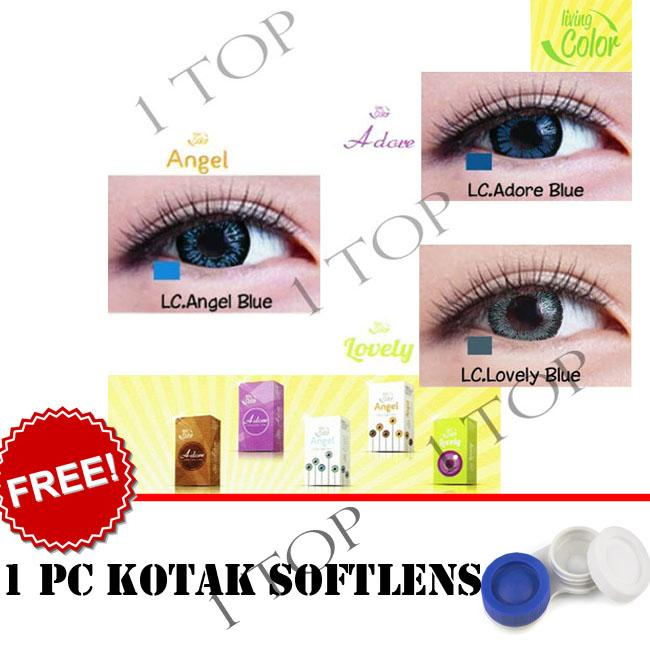 Softlens Living Color Blue, Brown, Gray, Green, Violet - Random : Adore, Angel, Lovely - Kualitas Bagus + FREE Lenscase