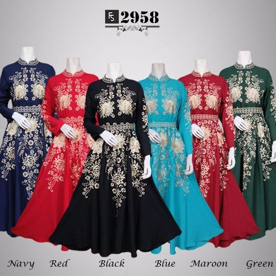 Toko Kirana Surabaya Gamis maxi dress baju gaun pesta busana muslim Khalifa 958