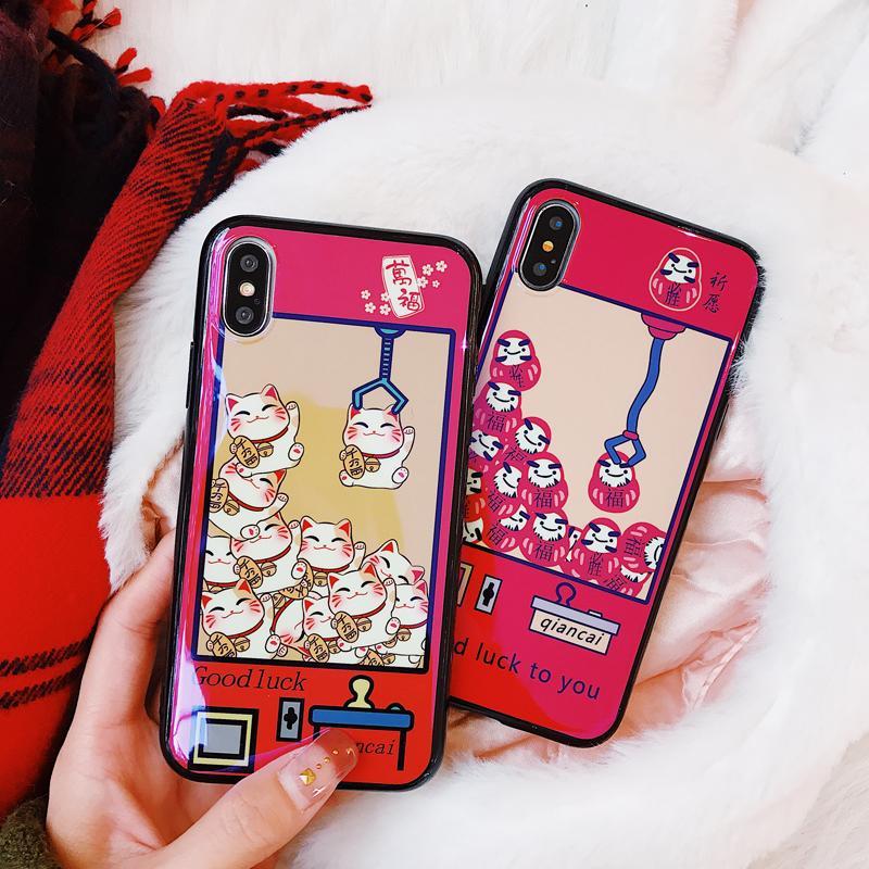 Selubung Ponsel Iphone8x Catok Mesin Boneka Selubung 7 Plus Cahaya Biru Apple Identitas