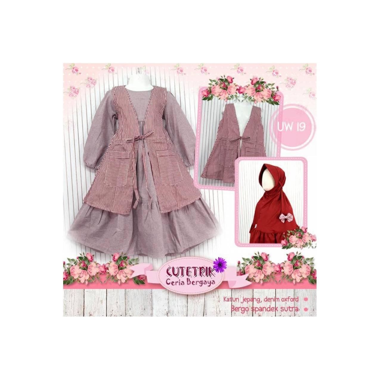 Gamis Anak /Dress /Baju Muslim Anak 3-7thn Lucu Murah Cutetrik UW19