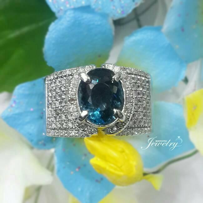Cincin Emas Putih Berlian Eropa Natural Batu London Blue Topaz