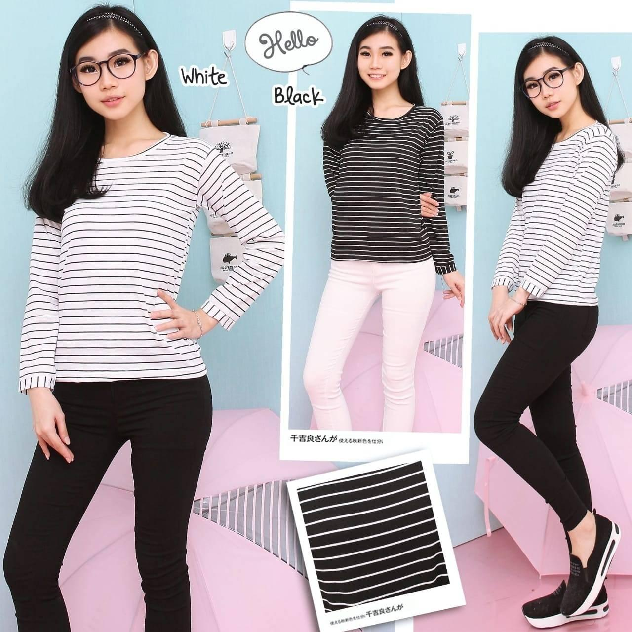 AG Apparel Long Top Luna Stripe Varian Warna / Blouse Sabrina / Baju Wanita / Blouse Korea / Atasan Wanita / Atasan Murah / Kemeja Shinta / Baju Formal ...