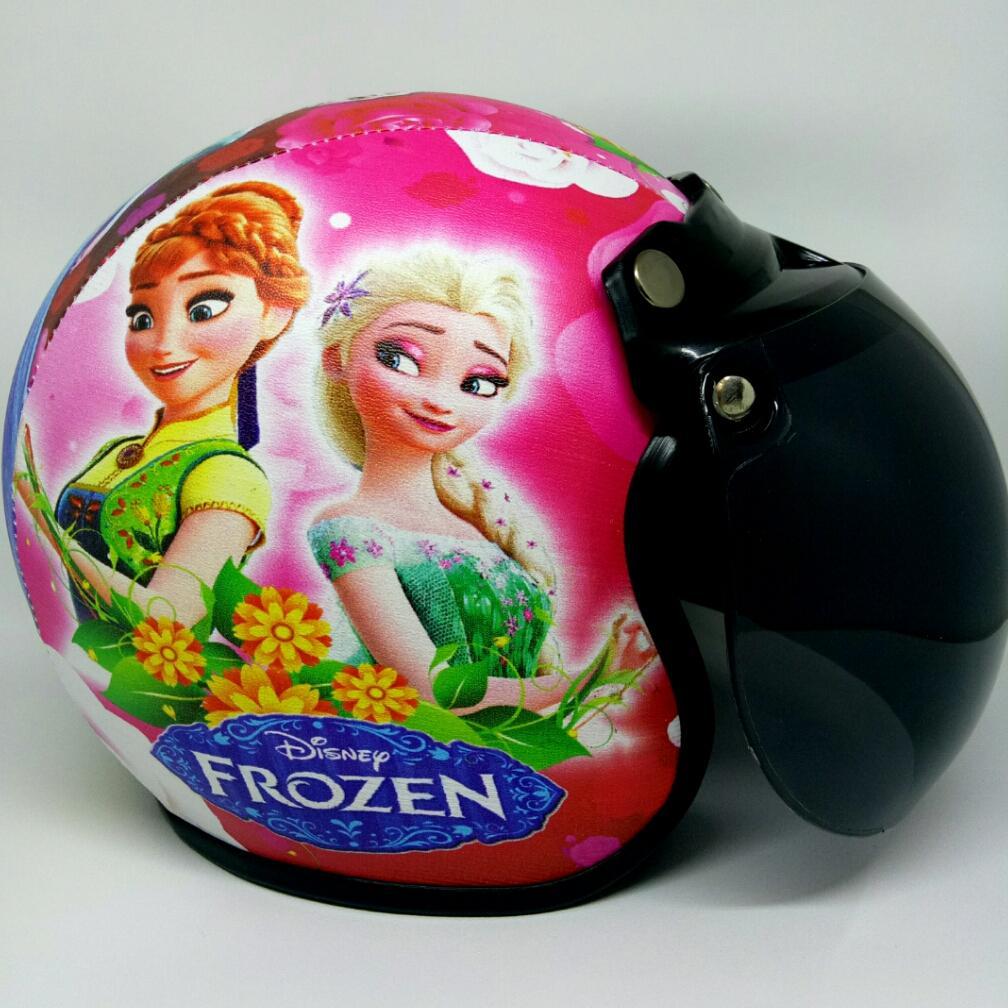Helm Anak 2-10 tahun Motif Frozen Elsa Pink Kaca Anak