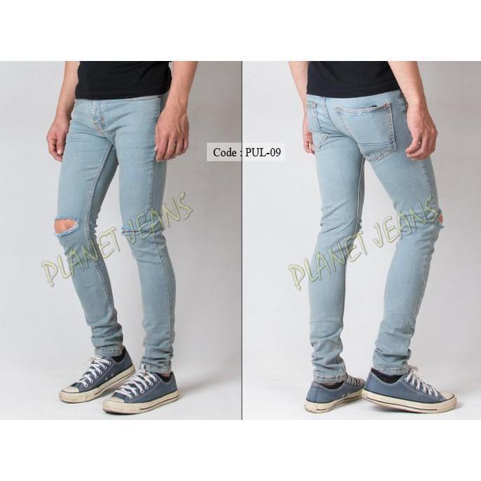 Celana Jeans Pria Ripped Sobek / Robek Lutut Model Skinny / Pensil - Emh3e1