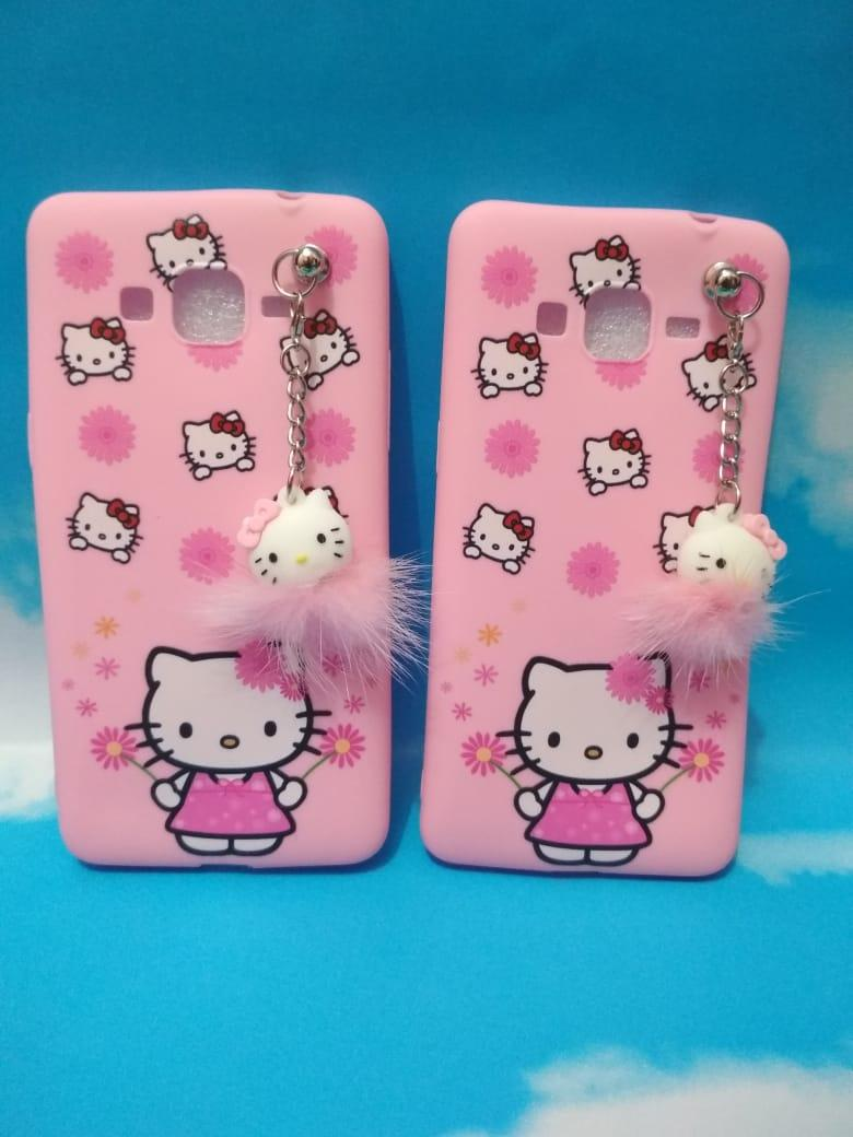 Case/Softcase Karakter Motif Cantik Cewek + Plus Gantungan Mainan Bulu Lucu Motif HELLO KITTY For Samsung Galaxy J2 Prime / Grand Prime G530 - ZHR409