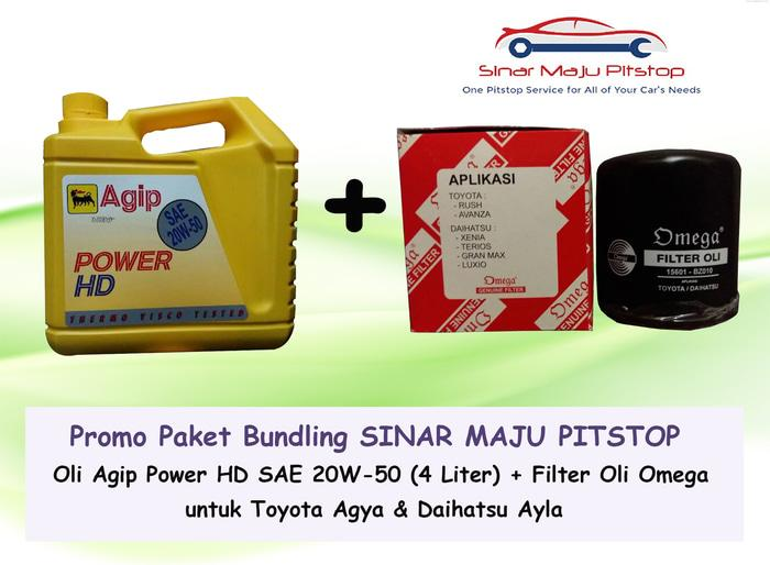 Paket Bundling Oli Mobil Agip Power HD 20W-50 & Filter Oli Agya Ayla