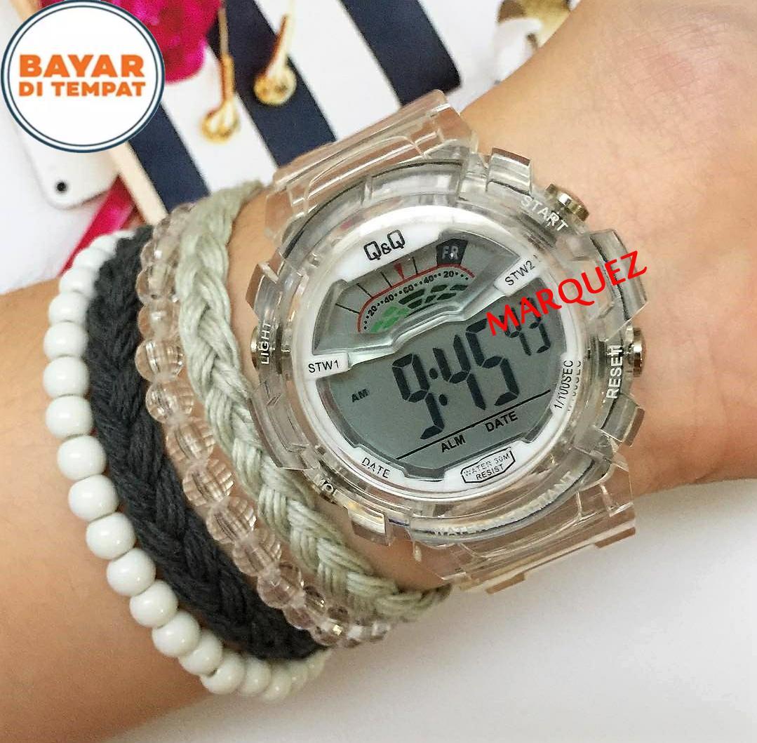 Q&Q - Jam Tangan Fashion Wanita & Pria QQ/Q&Q - Digital Transparan - Bahan Tali Rubber - Desain Terbaru-Limited Edition