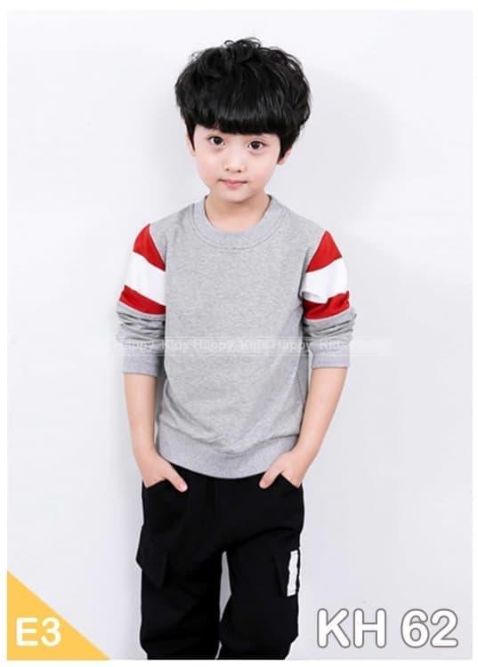 Baju Setelan Anak Laki Import KH62 Kaos Abu Stripe Celana Katun Hitam baju anak / baju gamis anak l