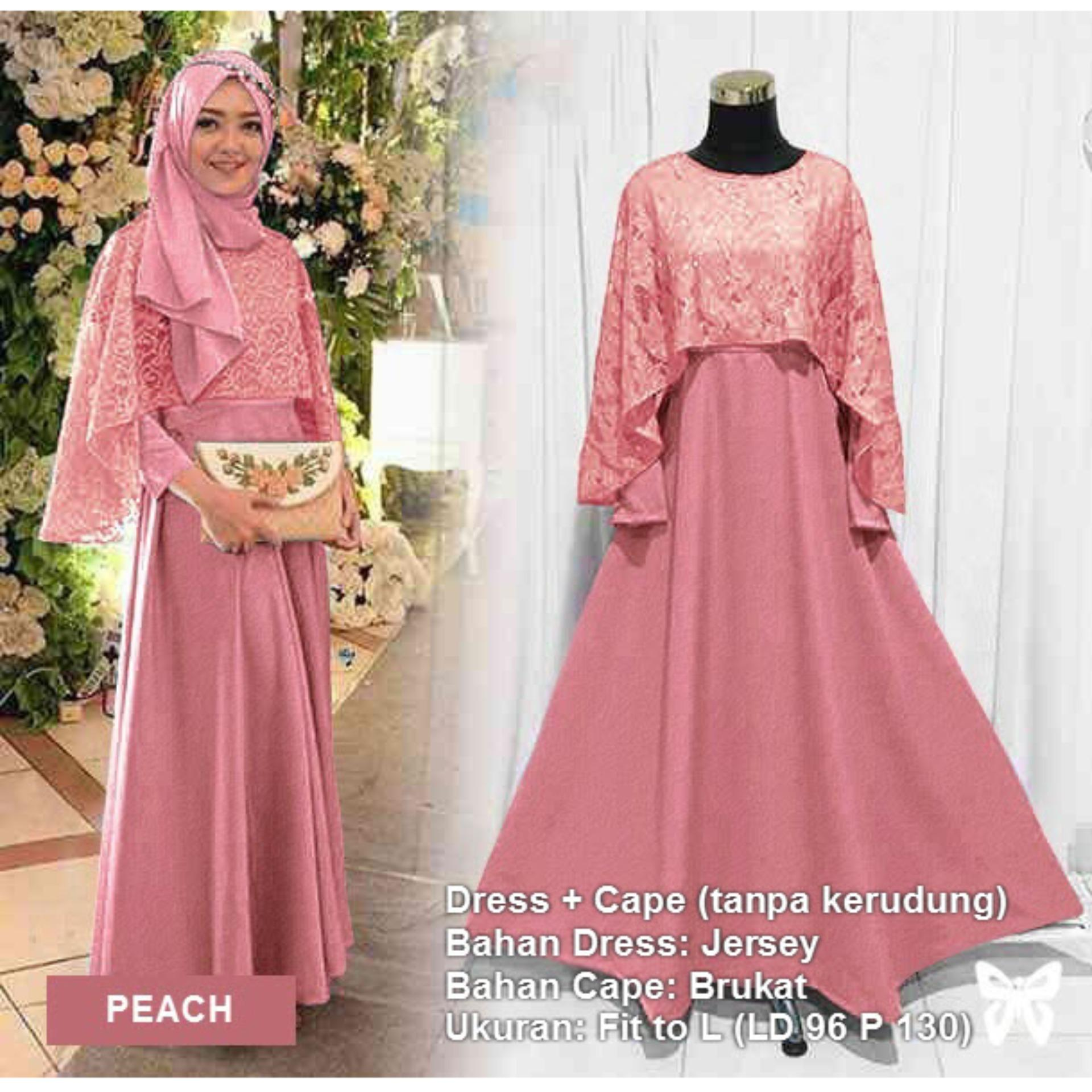 Maxi Dress Lengan Panjang Set 2 in 1 Cape Brukat MSR088 / Gamis Syari / Gaun