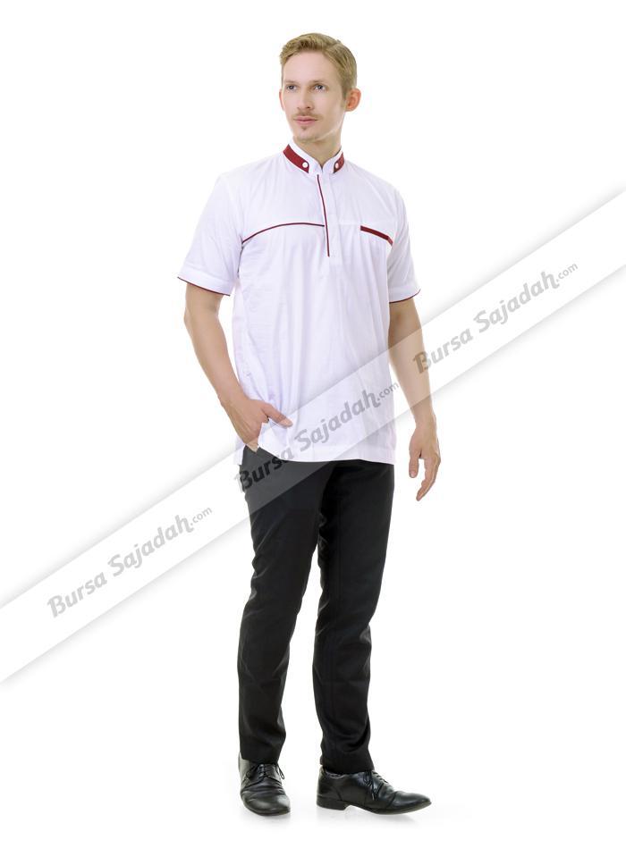 Baju Busana Koko Muslim Pendek Laki laki Warna Putih  Firaz Sykava