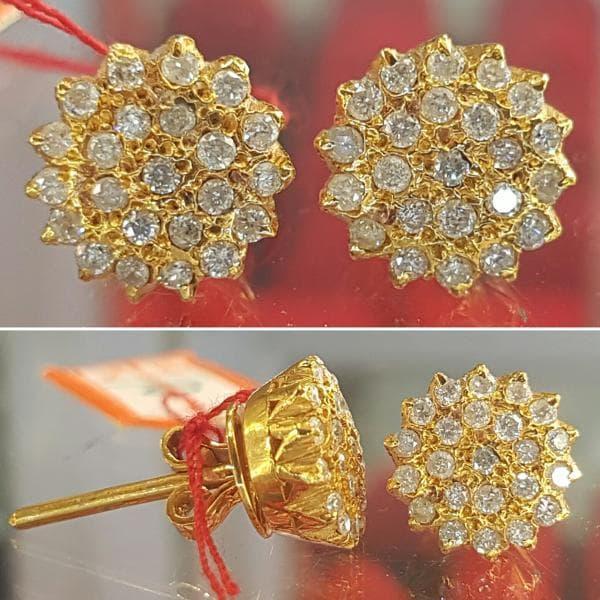 Anting Giwang Wanita Emas Berlian Eropa Asli Putih Murah
