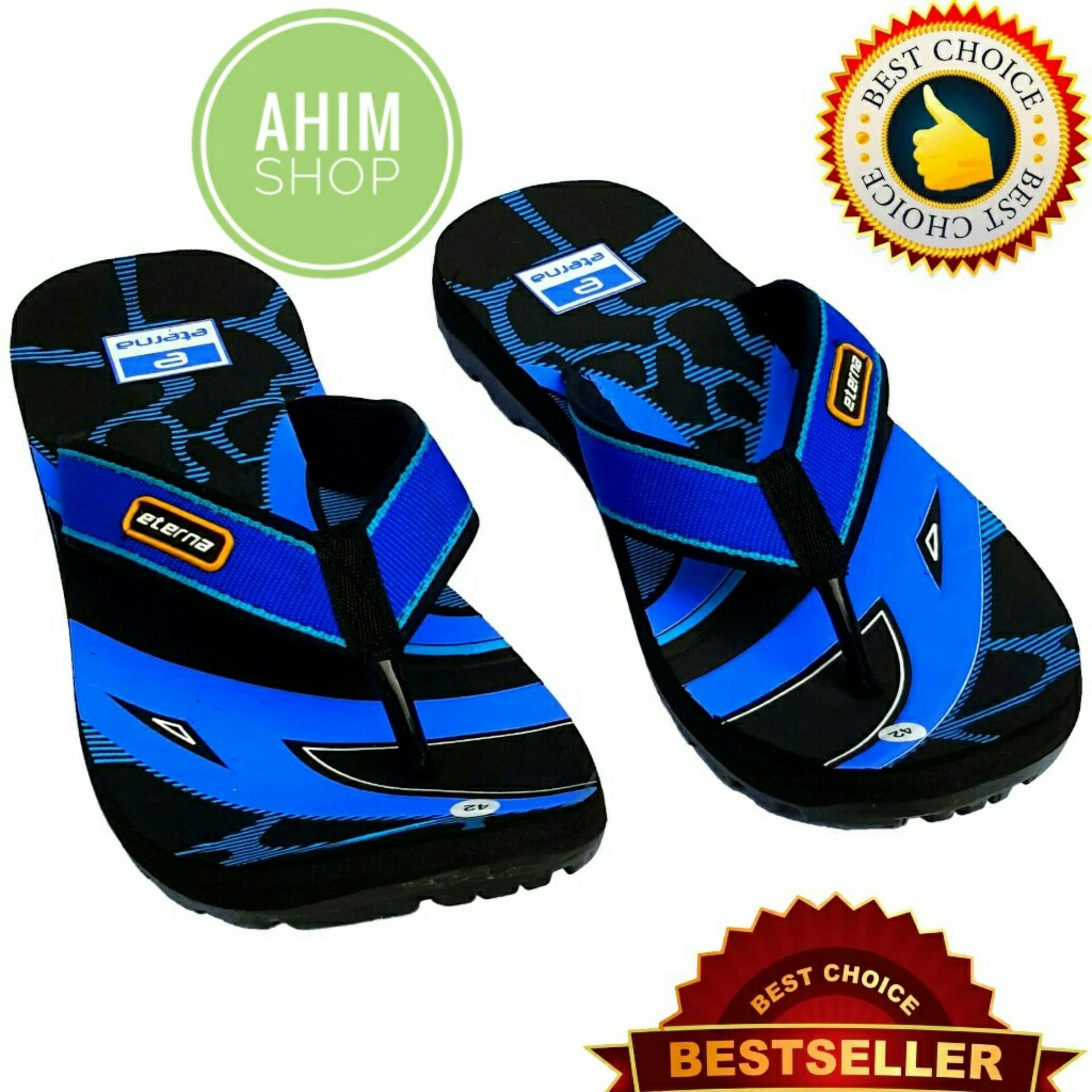 Eterna Sandal Gunung Jepit Pria Motif Seni Abstrak Trendy - Black Blue by Ahim Shop