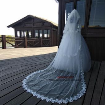 Price Checker Kerudung Gaun pengantin model baru banyak lapis super panjang berekor panjang Renda Model Korea
