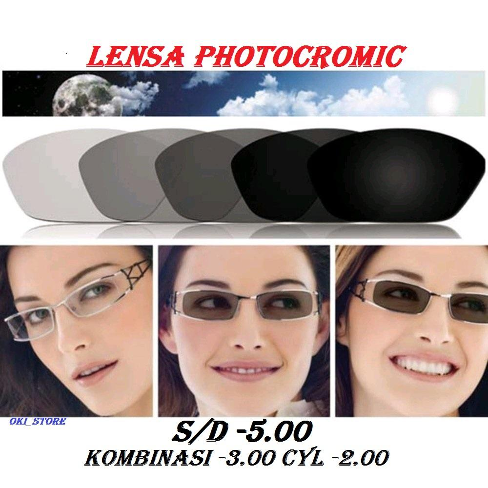 Oki_store Lensa Photocromic / Photogrey-Normal / Baca / Plus / Minus / Cylinder Anti Radiasi Komputer Berubah Warna By Oki_store.