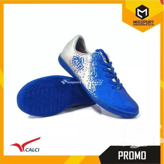 PROMO BESAR Sepatu Futsal CALCI Original Empire ID Blue Silver Murah