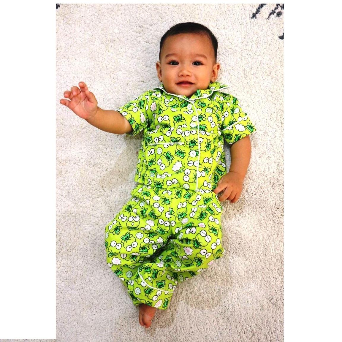 Baju Anak Model Piyama Motif kerropi Untuk umur 6 - 12 Bulan