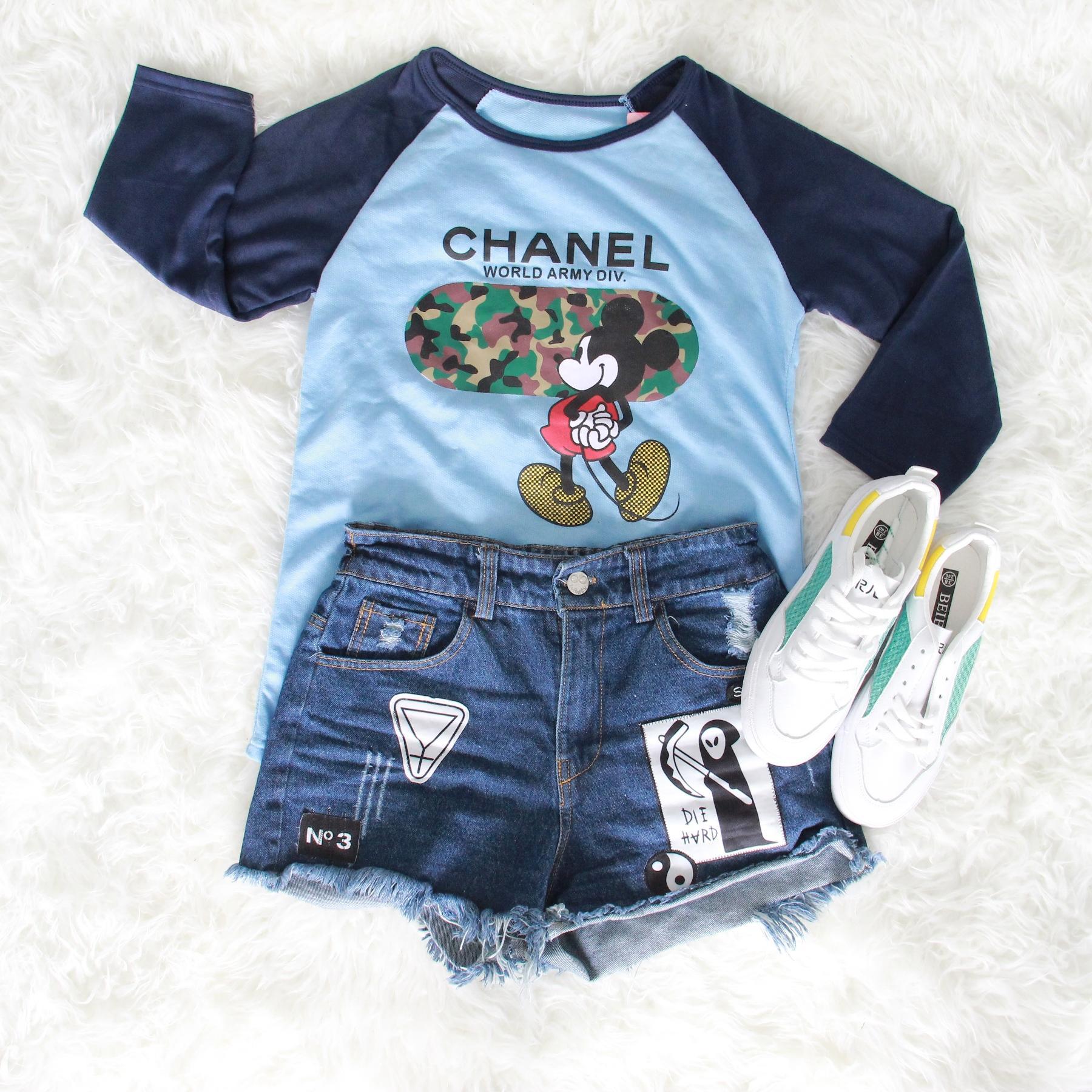 JCLOTHES Kaos Raglan Wanita / T-Shirt Raglan Blouse Lengan Panjang Mickey Channel