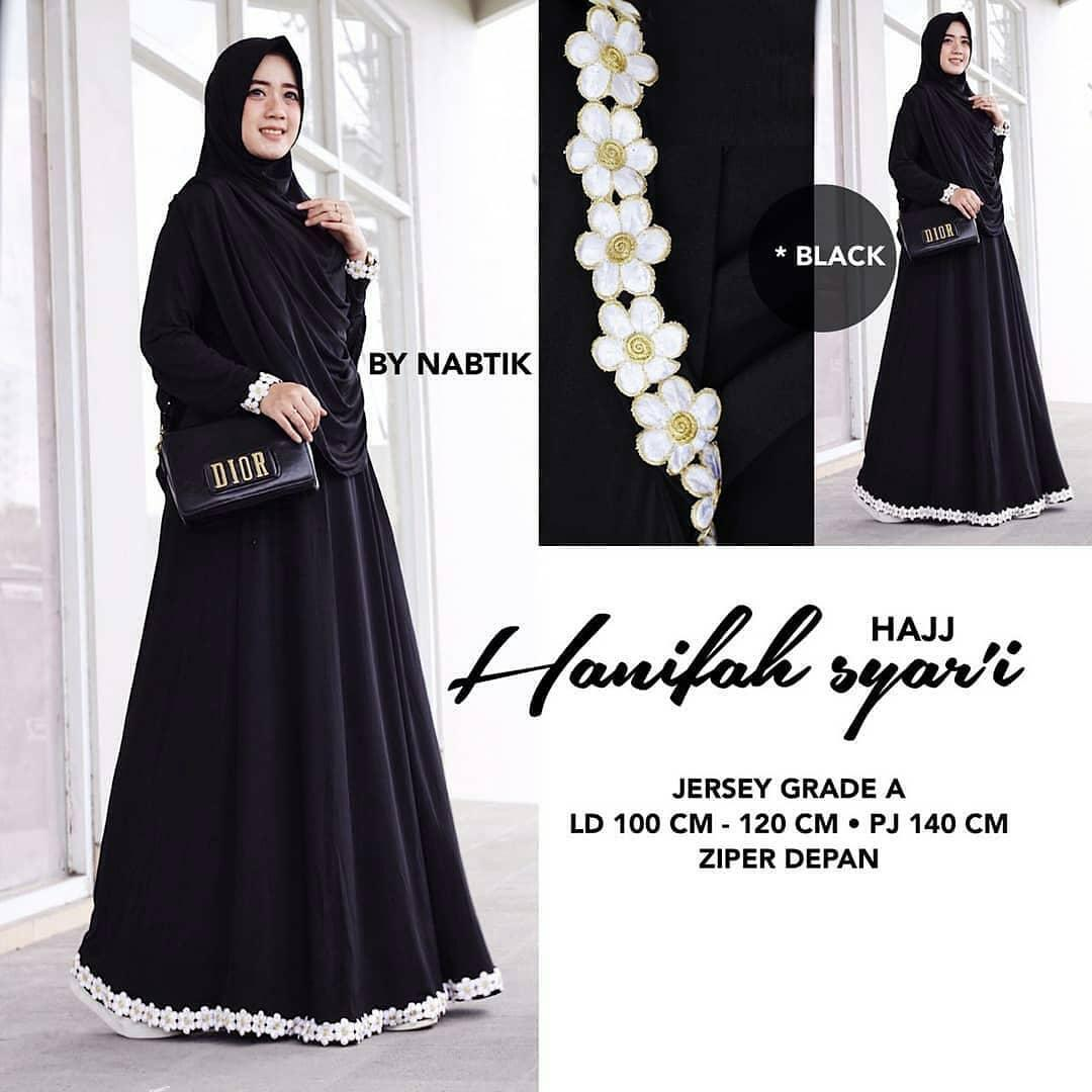 Baju Muslim Original Gamis Hanifah Syari Dress + Kerudung Jersey Super Baju Panjang Muslim Dress Casual Wanita Pakaian Muslim Wanita Pakaian Hijab Modern Baju Gaun Pesta Modis Trendy Terbaru 2018