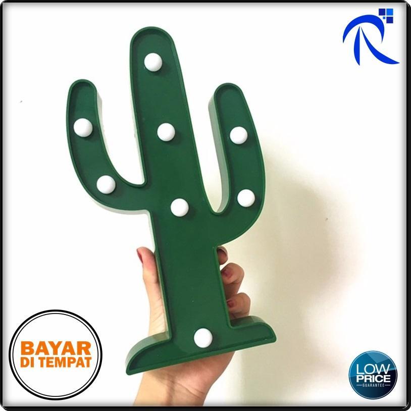 Rimas Lampu Dekorasi Marquee Light LED - Model Cactus - Green lampu hias tembak aksesoris dekorasi rumah keren unik berkualitas FREE ONGKIR & Bisa COD