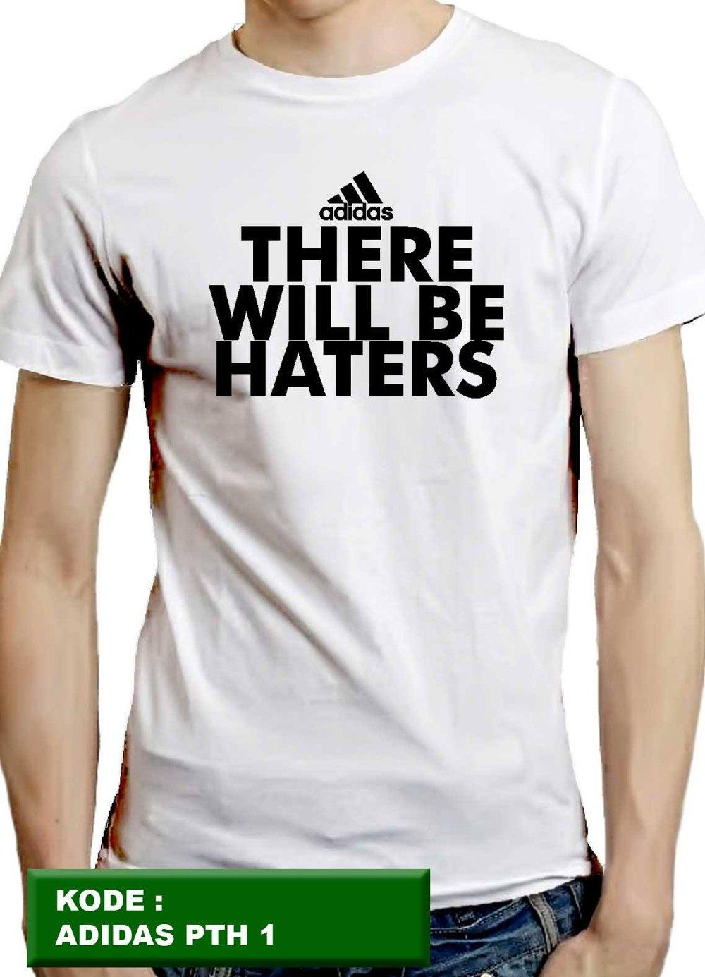 kaos adidas, kaos pria, kaos cowok, kaos distro, t-shirt, putih 1, there will be haters, jeryhansen di lapak jeryhansen jeryhansen