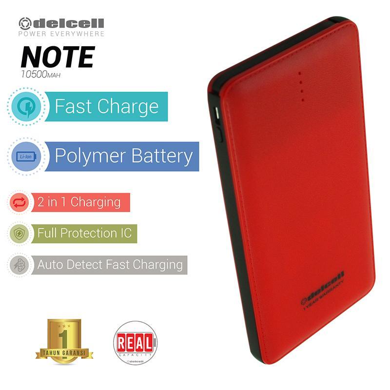 Delcell 10500mAh Powerbank NOTE Real Capacity Polymer Battery Build in Cable Fast Charging Garansi Resmi 1 Tahun Slim Power Bank Fast Charge - Merah