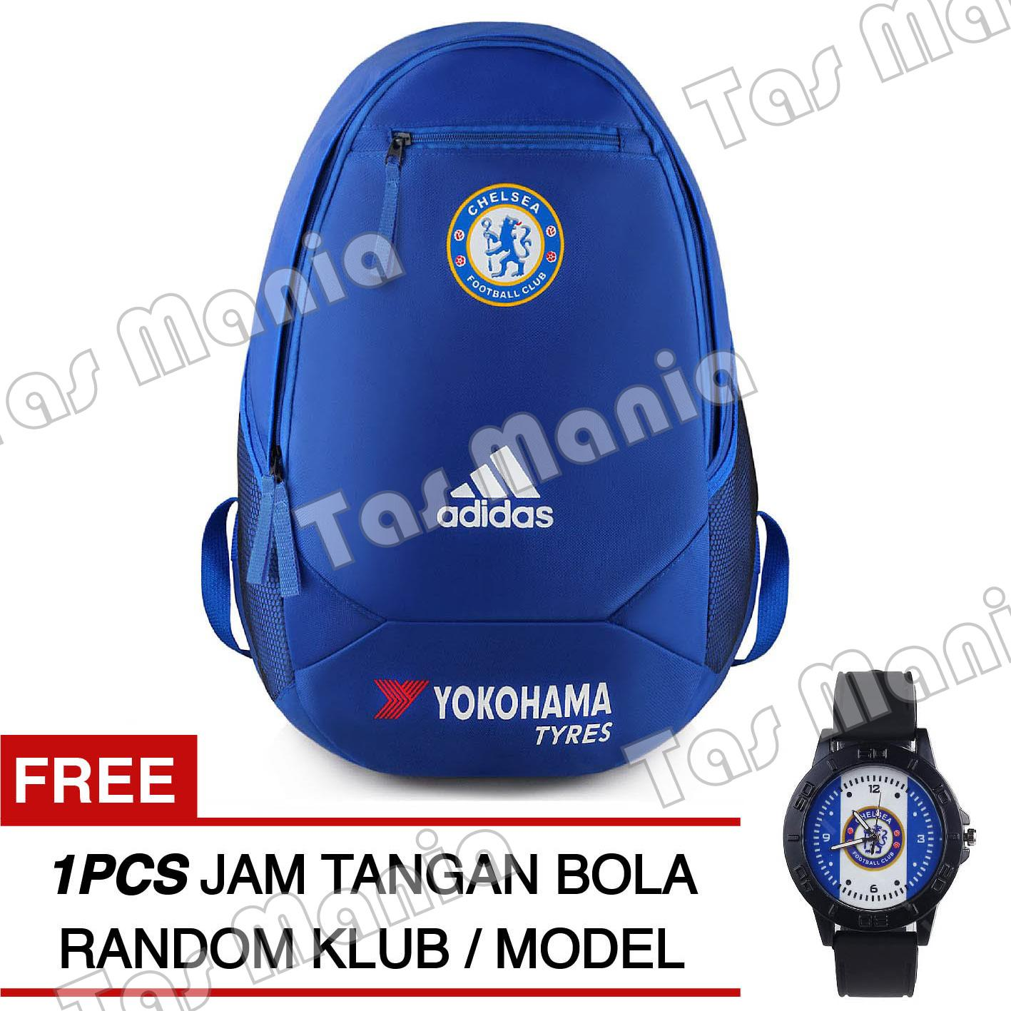 Tas Ransel Adidas Bola Pria Chelsea FC Laptop Backpack Men Soccer Editions - Blue + Raincover + FREE Jam Tangan Pria Random Color / Model