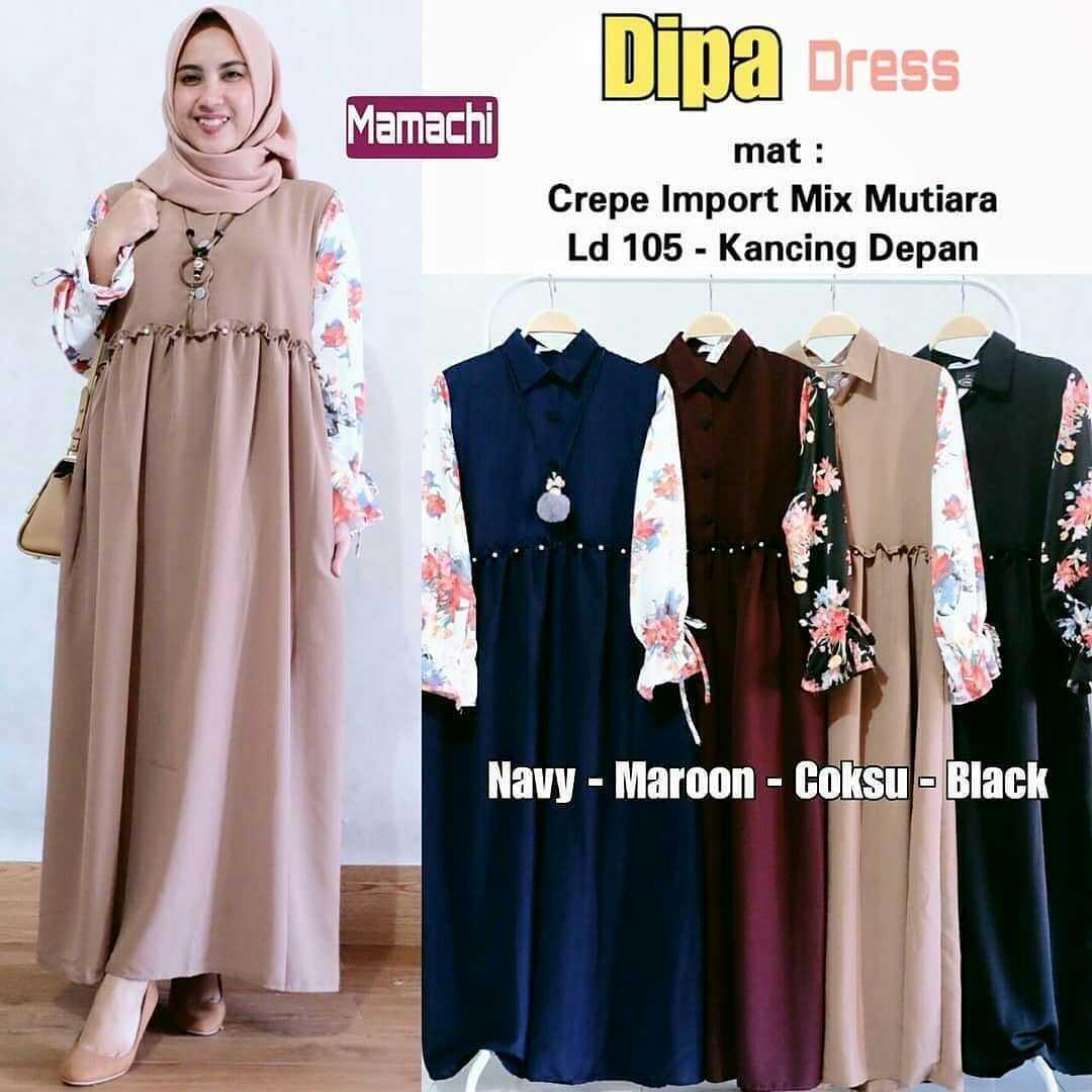 Gamis Dipa Dress Balotelly Mix Cotton Baju Muslim Terbaru 2018 Baju Wanita  Gamis Casual Baju Terusan 755800b0ef