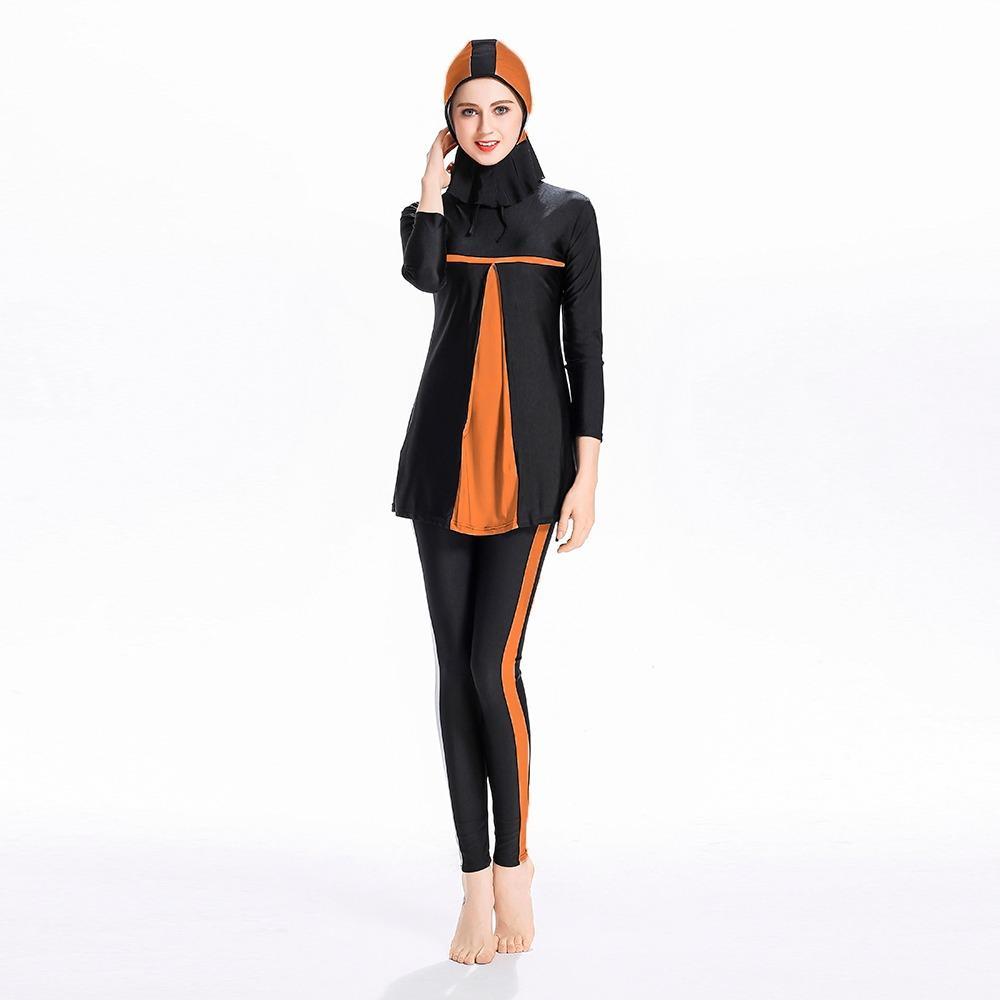 3 Pcs/set Islam Swimwear Swimsuit Islami Jilbab Wanita Swimwear Penuh Cakupan Swimwear Muslim Renang Pakaian Renang Swimsuit Sport Pakaian Gaun Oranye -Intl