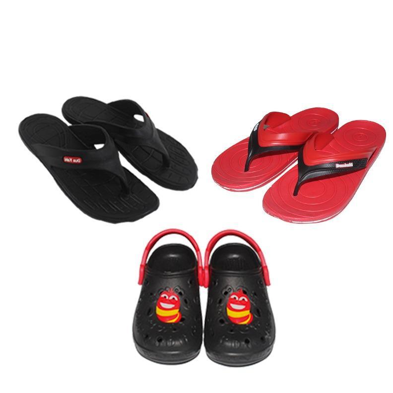 EELIC SAL-LOVESS HITAM-MERAH Sandal Jepit Karet MIX Love Series ( 301 HITAM Size 42 + 515 MERAH Size 37 DAN Sandal Anak HITAM SIZE 27 ) Nyaman Dipakai Dan Anti Selip