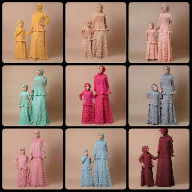(TERBARU) Couple mk wardani / baju pasangan ibu dan anak / gamis / baju muslim / pakaian muslim *rd @145rb (maron)