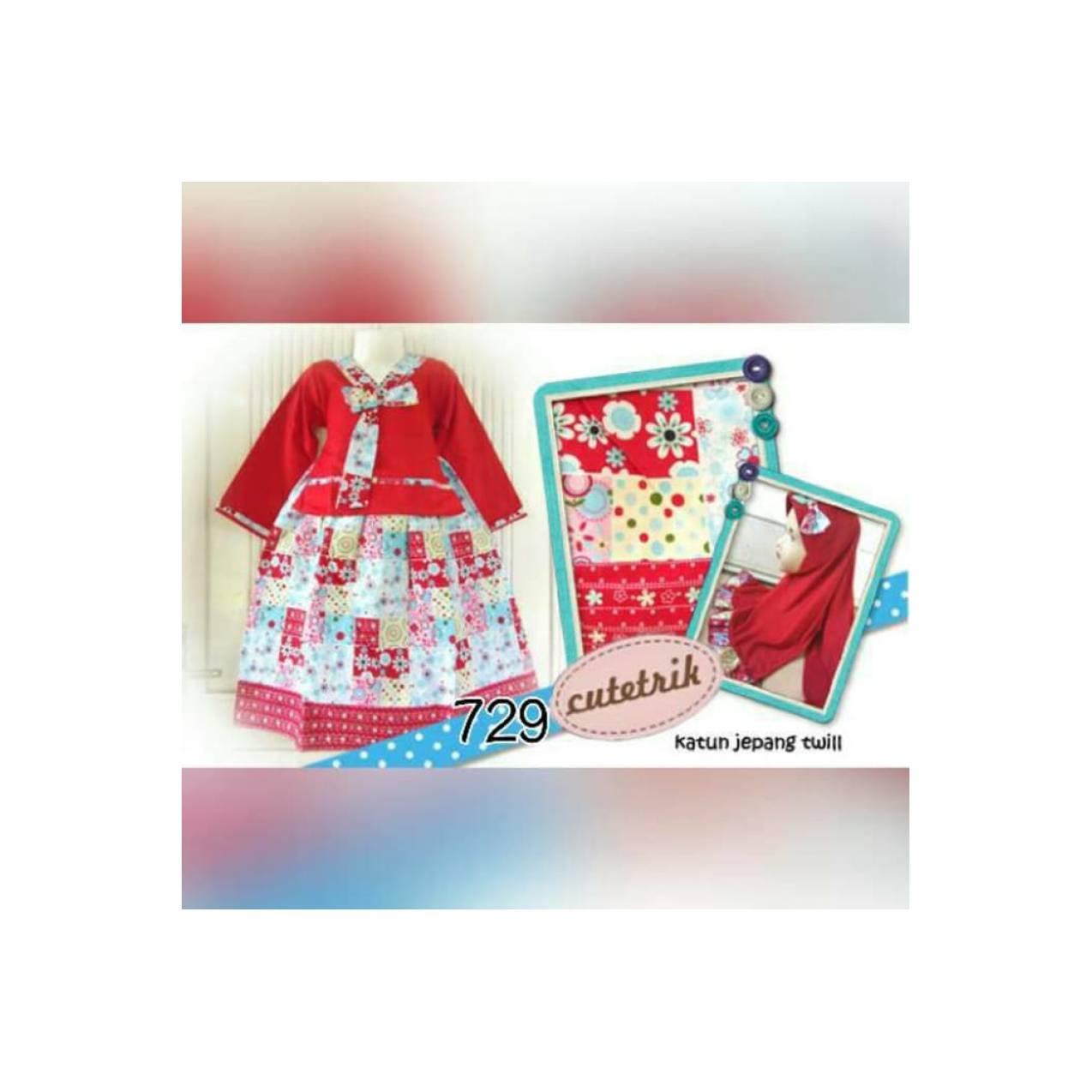 Gamis hanbok katun jepang size SD - remaja motif patchwork merah