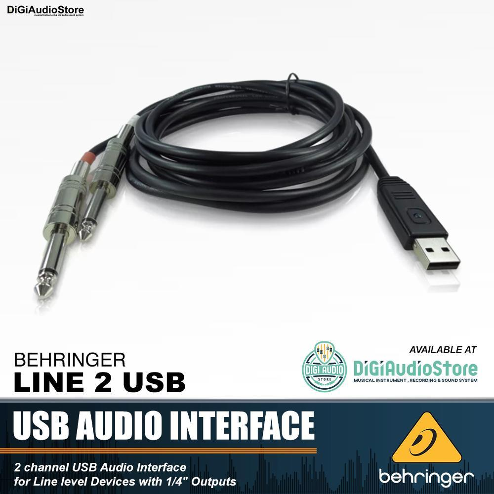 Behringer LINE 2 USB Adapter Cable USB to 2 Jack Phono - Kabel Soundcard Untuk Keyboard Drum Elektrik Mesin DJ Instrument