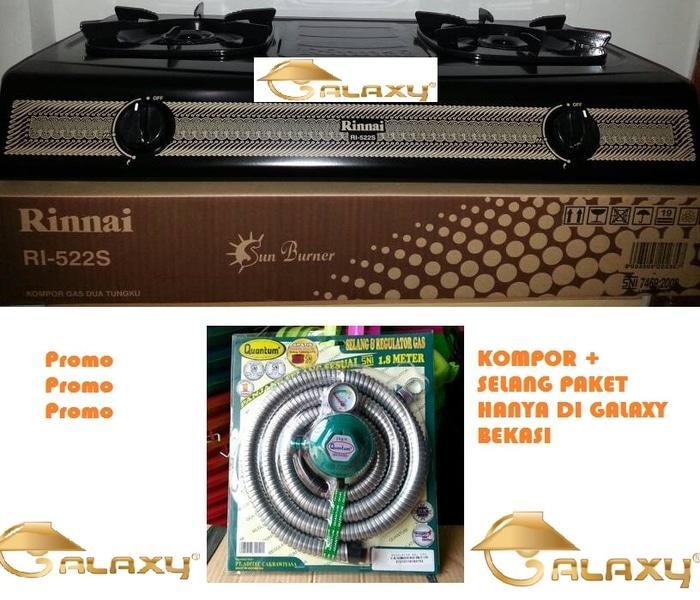 Paket Rinnai RI 522S Kompor Gas 2 Tungku + Selang Paket Quantum QRL032