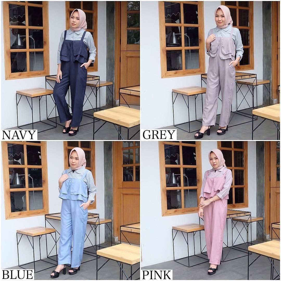 New Baju Original Franda Jumsuit Balotely Setelan Atasan + Celana Rok Overall Fashion Wanita Pakaian Muslim Cewek Hijab