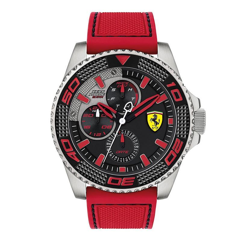 Ferrari Kers Xtreme - Jam Tangan Pria - Silver-HItam - Rubber Merah - 0830469