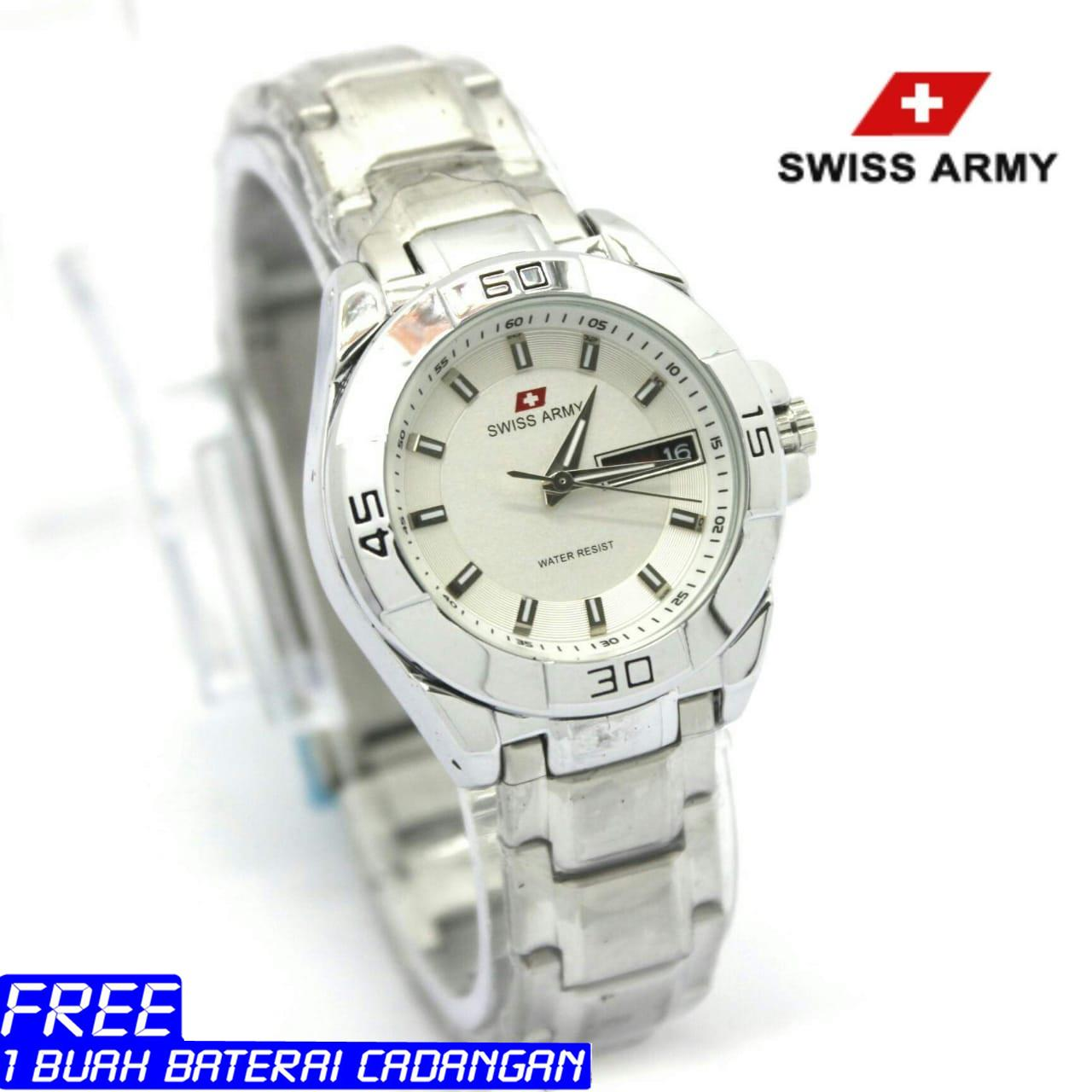 Buy Sell Cheapest Swiss Army Analog Best Quality Product Deals 021 Jam Tangan Pria Hitam Wanita Stainless Stell Time
