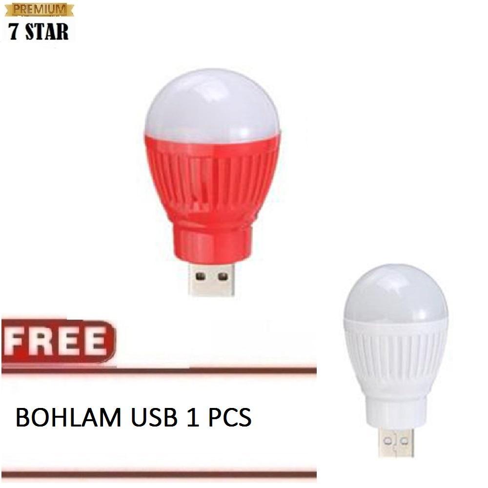 BUY 1 GET 1 Bohlam Emergency Mini USB 7STAR - Bohlam LED Bulb BALL LIGHT lampu Powerbank Senter - Random Color