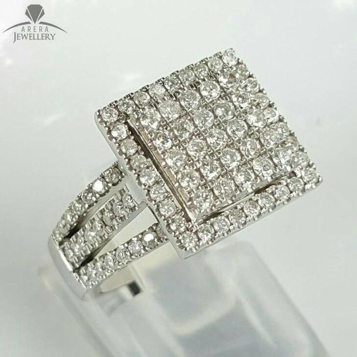 Cincin Emas 18k Berlian Eropa Asli Putih Tunangan Pernikahan Murah 01C