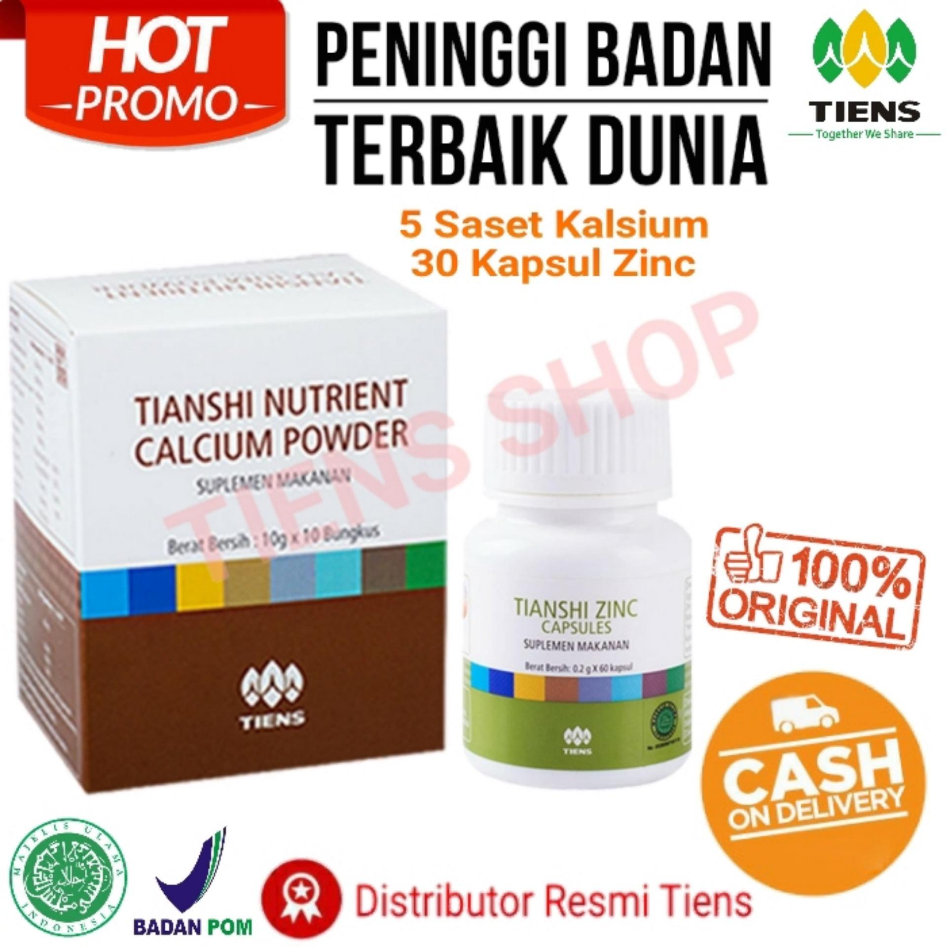 Tiens Obat Peninggi Badan Terbaik ( Promo Murah ) / Paket 5 Saset Calcium & 30 Kapsul Zinc / Seller Resmi By .Tiens Shop